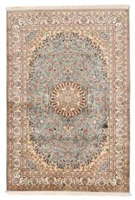 Kashmir Pure Silk Rug 127X188 Authentic Oriental Handknotted Beige/Dark Brown (Silk, India)
