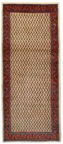 Sarouk Mir Rug 86X200 Authentic Oriental Handknotted Hallway Runner Dark Brown/Dark Red (Wool, Persia/Iran)