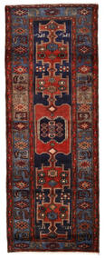 Hamadan Rug 109X290 Authentic  Oriental Handknotted Hallway Runner  Dark Brown/Dark Red (Wool, Persia/Iran)