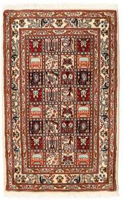 Moud Rug 62X98 Authentic  Oriental Handknotted Dark Red/Beige (Wool/Silk, Persia/Iran)
