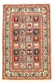 Moud Rug 60X95 Authentic Oriental Handknotted Dark Brown/Beige (Wool/Silk, Persia/Iran)
