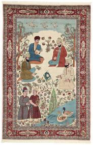 Sarouk Rug 143X213 Authentic Oriental Handknotted Beige/Dark Brown (Wool/Silk, Persia/Iran)