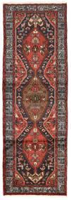 Hamadan Rug 95X280 Authentic  Oriental Handknotted Hallway Runner  Dark Red/Black (Wool, Persia/Iran)