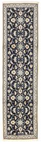 Nain Rug 80X302 Authentic  Oriental Handknotted Hallway Runner  Light Grey/Black (Wool, Persia/Iran)