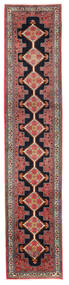 Senneh Rug 59X296 Authentic  Oriental Handknotted Hallway Runner  Dark Red/Black (Wool, Persia/Iran)