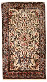 Hamadan Rug 77X132 Authentic Oriental Handknotted Dark Brown/White/Creme (Wool, Persia/Iran)