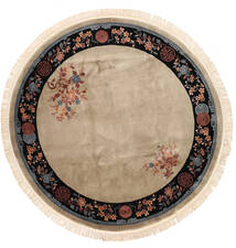 China 90 Line Rug Ø 274 Authentic Oriental Handknotted Round Light Brown/Light Grey Large (Wool, China)