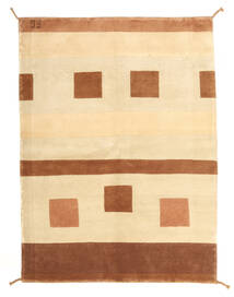 Gabbeh Indo Rug 146X201 Authentic Modern Handknotted Brown/White/Creme/Dark Brown/Beige (Wool, India)