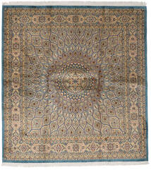 Kashmir Pure Silk Rug 179X193 Authentic  Oriental Handknotted Square Light Brown/Light Grey (Silk, India)