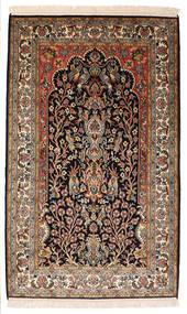 Kashmir Pure Silk Rug 82X132 Authentic  Oriental Handknotted Black/Dark Brown (Silk, India)