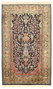 Kashmir Pure Silk Rug 76X125 Authentic  Oriental Handknotted Dark Brown/Dark Beige (Silk, India)