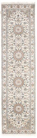 Nain Indo Rug 80X300 Authentic  Oriental Handknotted Hallway Runner  Light Grey/White/Creme ( India)