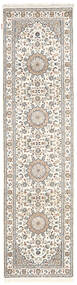 Nain Indo Rug 79X302 Authentic  Oriental Handknotted Hallway Runner  Light Grey/Beige/White/Creme ( India)