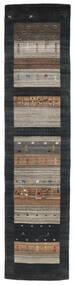 Loribaf Loom Rug 79X340 Authentic  Modern Handknotted Hallway Runner  Black/Light Grey (Wool, India)