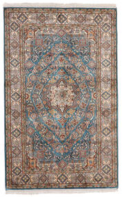 Kashmir Pure Silk Rug 97X155 Authentic  Oriental Handknotted Light Grey/Black (Silk, India)