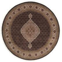 Tabriz Royal Rug Ø 247 Authentic Oriental Handknotted Round Dark Brown/Brown ( India)