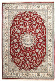 Nain Indo Rug 244X354 Authentic  Oriental Handknotted Light Grey/Dark Red ( India)