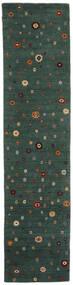 Loribaf Loom Rug 82X339 Authentic  Modern Handknotted Hallway Runner  Dark Green (Wool, India)