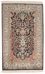 Kashmir Pure Silk Rug 78X126 Authentic  Oriental Handknotted Light Grey/Dark Brown (Silk, India)