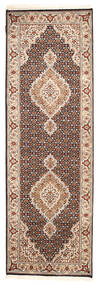 Tabriz Royal Rug 82X250 Authentic  Oriental Handknotted Hallway Runner  Dark Brown/Brown ( India)