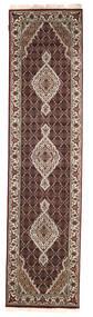 Tabriz Royal Rug 76X307 Authentic  Oriental Handknotted Hallway Runner  Dark Red/Light Grey ( India)