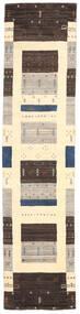 Loribaf Loom Rug 80X243 Authentic Modern Handknotted Hallway Runner Dark Brown/Beige/Light Grey (Wool, India)