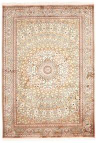 Kashmir Pure Silk Rug 130X187 Authentic  Oriental Handknotted Beige/Yellow (Silk, India)
