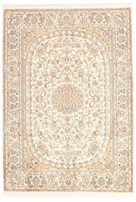 Kashmir Pure Silk Rug 128X181 Authentic  Oriental Handknotted Beige/Yellow (Silk, India)