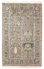 Kashmir Pure Silk Rug 77X127 Authentic  Oriental Handknotted Dark Brown/Beige (Silk, India)