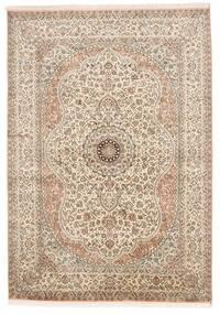 Kashmir Pure Silk Rug 155X221 Authentic  Oriental Handknotted Light Grey/Brown (Silk, India)