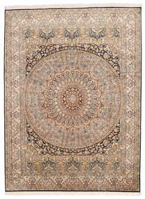 Kashmir Pure Silk Rug 155X207 Authentic  Oriental Handknotted Brown/Dark Brown (Silk, India)