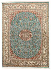 Kashmir Pure Silk Rug 159X218 Authentic  Oriental Handknotted Brown/Dark Grey (Silk, India)