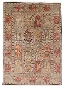 Kashmir Pure Silk Rug 151X210 Authentic  Oriental Handknotted Brown/Light Brown (Silk, India)