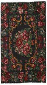 Rose Kelim Moldavia Rug 186X326 Authentic  Oriental Handwoven Dark Grey/Dark Red (Wool, Moldova)