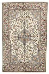 Keshan Rug 140X213 Authentic  Oriental Handknotted Light Grey/White/Creme (Wool, Persia/Iran)