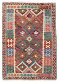 Kilim Afghan Old Style Rug 127X182 Authentic  Oriental Handwoven Dark Red/Dark Grey (Wool, Afghanistan)