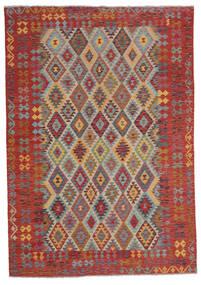 Kilim Afghan Old Style Rug 207X295 Authentic  Oriental Handwoven Dark Brown (Wool, Afghanistan)