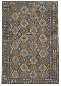 Kilim Afghan Old Style Rug 209X303 Authentic  Oriental Handwoven Black (Wool, Afghanistan)