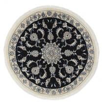 Nain Rug Ø 100 Authentic  Oriental Handknotted Round White/Creme/Black (Wool, Persia/Iran)