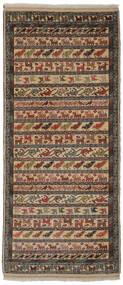 Turkaman Rug 86X200 Authentic  Oriental Handknotted Hallway Runner  Dark Brown/Black/Brown (Wool, Persia/Iran)