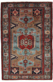 Hamadan Rug 132X205 Authentic Oriental Handknotted Black/Dark Brown (Wool, Persia/Iran)