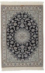 Nain 9La Rug 105X155 Authentic  Oriental Handknotted Black/Dark Grey (Wool/Silk, Persia/Iran)