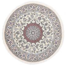 Nain 9La Rug Ø 145 Authentic  Oriental Handknotted Round White/Creme/Light Grey (Wool/Silk, Persia/Iran)