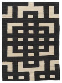 Kilim Modern Rug 132X177 Authentic  Modern Handwoven Black/Light Brown (Wool, Afghanistan)
