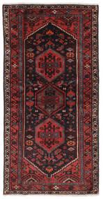 Hamadan Rug 100X197 Authentic  Oriental Handknotted Black/Dark Red (Wool, Persia/Iran)