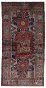 Hamadan Rug 100X193 Authentic  Oriental Handknotted Black/Dark Brown (Wool, Persia/Iran)