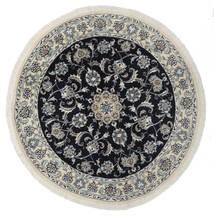 Nain Rug Ø 140 Authentic  Oriental Handknotted Round White/Creme/Black (Wool, Persia/Iran)