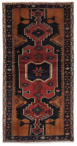 Hamadan Rug 103X204 Authentic  Oriental Handknotted Black/Dark Brown (Wool, Persia/Iran)