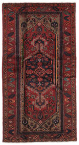 Hamadan Rug 99X189 Authentic  Oriental Handknotted Black/Dark Brown (Wool, Persia/Iran)