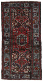 Hamadan Rug 104X196 Authentic  Oriental Handknotted Black (Wool, Persia/Iran)